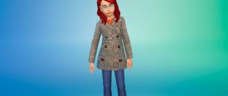 Зимнее пальто для девочек для Симс 4 – фото 1