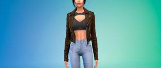 Байкерская куртка для девушек для Симс 4 – фото 1