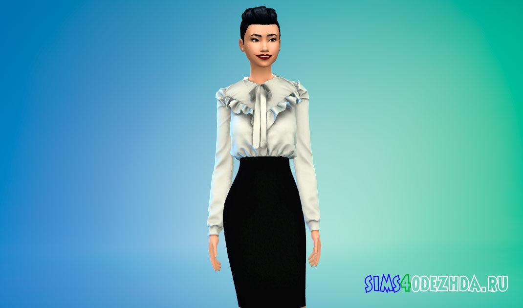 Блузка с баской на плечах для Симс 4 – фото 1