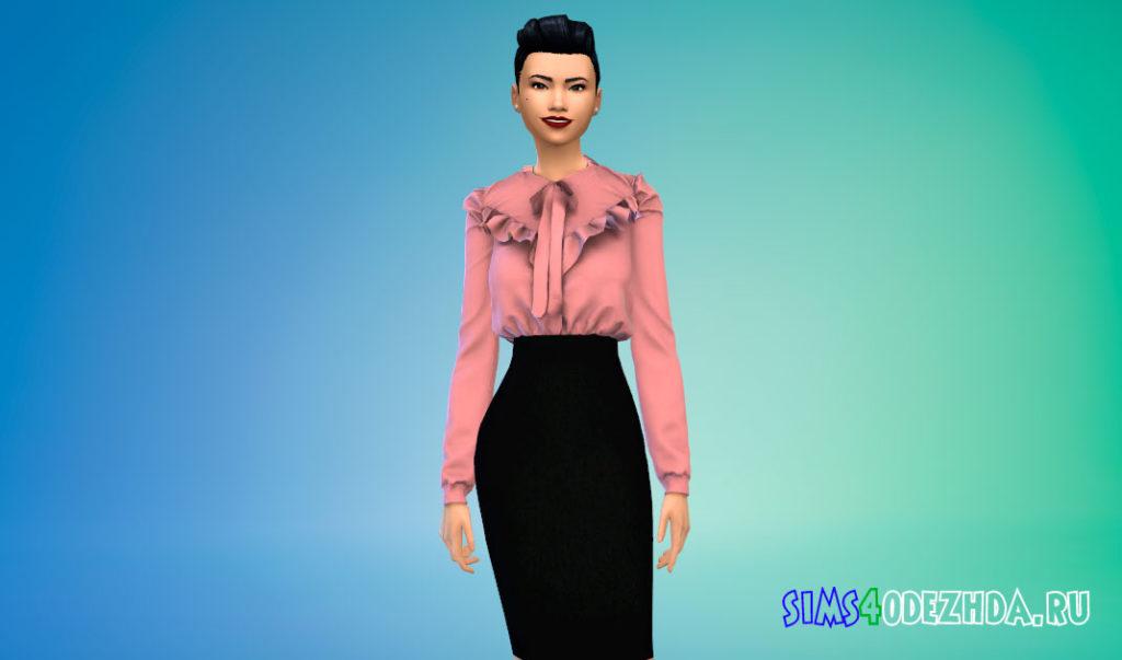 Блузка с баской на плечах для Симс 4 – фото 2