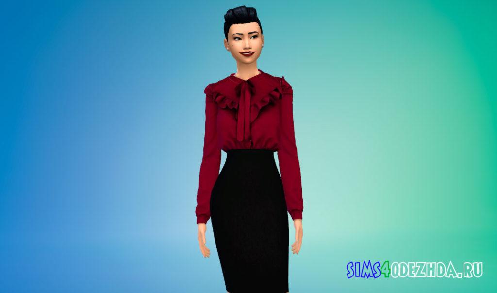 Блузка с баской на плечах для Симс 4 – фото 3