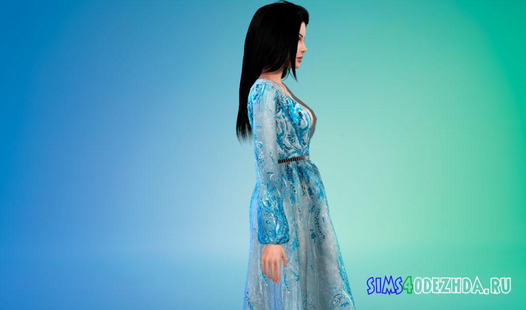 Декорированное платье для Симс 4 – фото 2