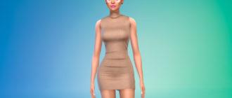 Короткое платье с горлом для Симс 4 – фото 1