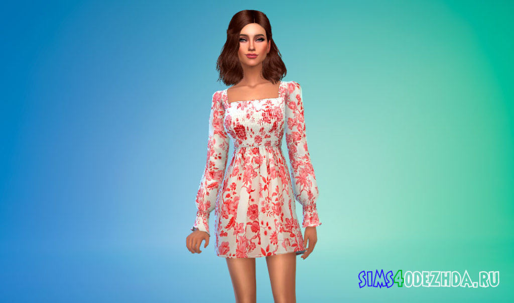 Мини-платье с цветочным рисунком для Симс 4 – фото 1