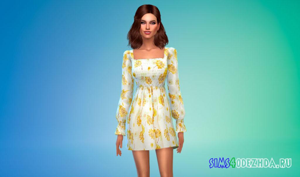 Мини-платье с цветочным рисунком для Симс 4 – фото 2