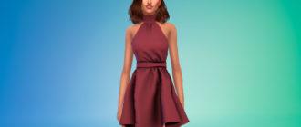 Мини-платье с горлом для Симс 4 – фото 1