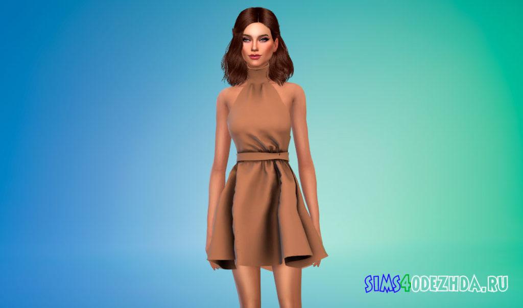 Мини-платье с горлом для Симс 4 – фото 2