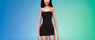 Мини-платье с вырезом по бокам для Симс 4 – фото 1