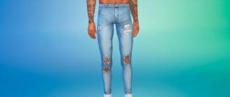 Мужские джинсы скинни с потертостями для Симс 4 – фото 1