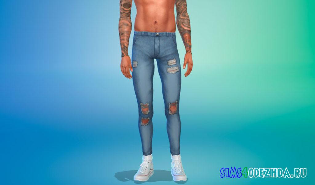 Мужские джинсы скинни с потертостями для Симс 4 – фото 2