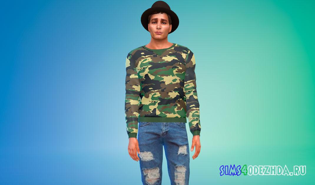 Мужской камуфляжный свитшот для Симс 4 – фото 1