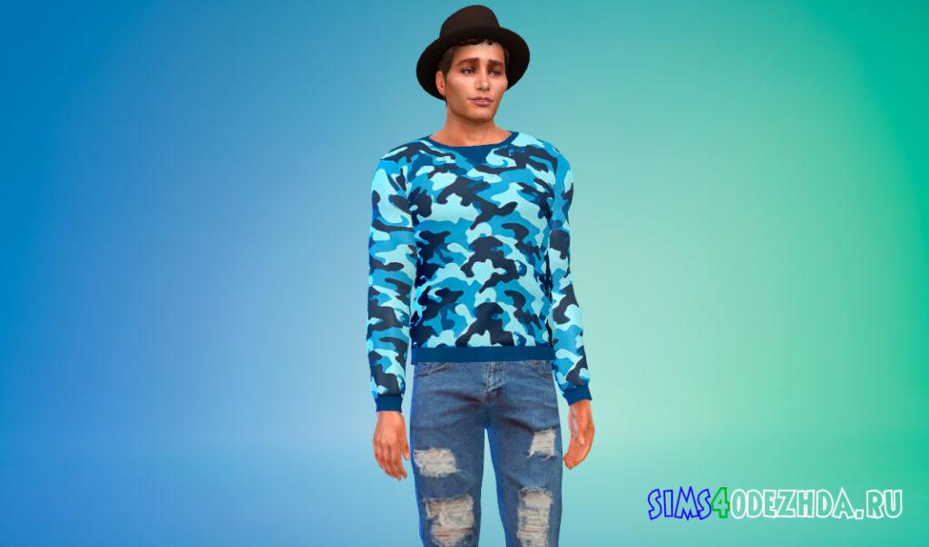 Мужской камуфляжный свитшот для Симс 4 – фото 3