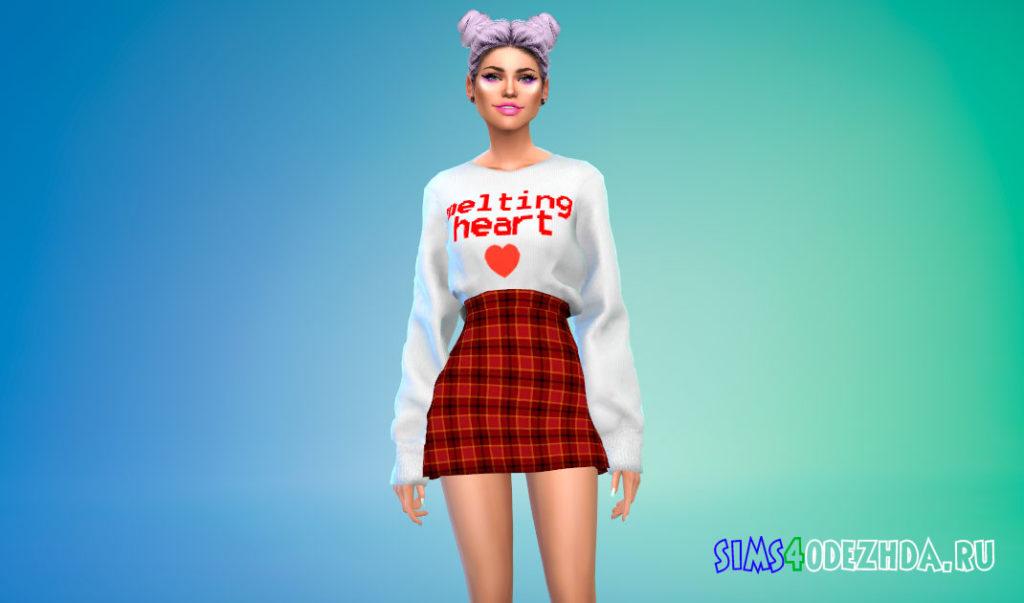 Наряд из свитера и юбки в корейском стиле для Симс 4 – фото 1