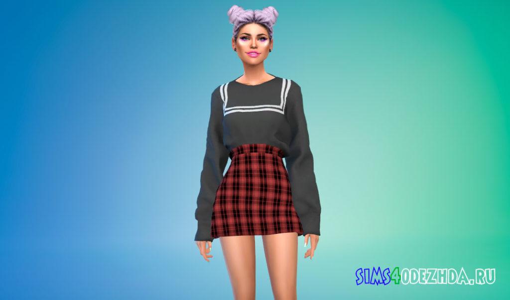 Наряд из свитера и юбки в корейском стиле для Симс 4 – фото 3