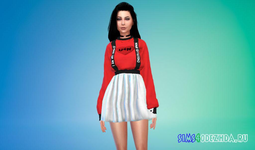 Наряд из свитера и мини-юбки для Симс 4 – фото 3