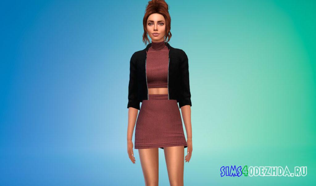 Платье с курткой для Симс 4 – фото 2