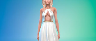 Платье с треугольным вырезом для Симс 4 – фото 1