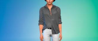 Простая полузаправленная рубашка для Симс 4 – фото 1