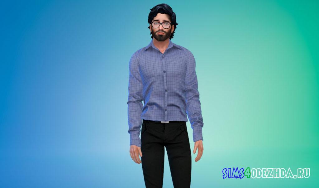 Простая заправленная рубашка для мужчин для Симс 4 – фото 1