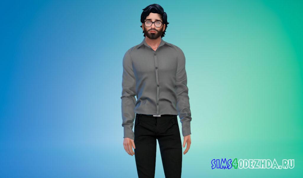 Простая заправленная рубашка для мужчин для Симс 4 – фото 2