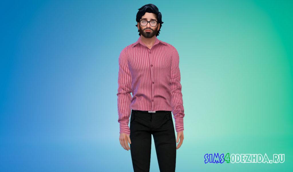 Простая заправленная рубашка для мужчин для Симс 4 – фото 3