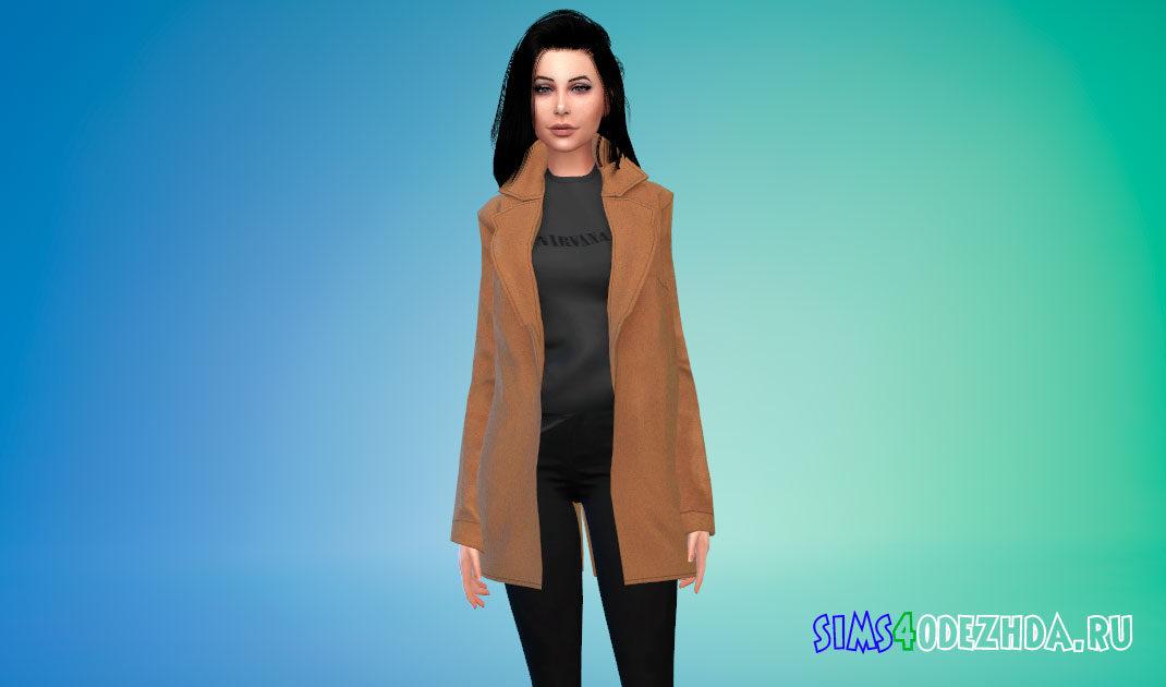 Шерстяное пальто с заправленной кофтой для Симс 4 – фото 1