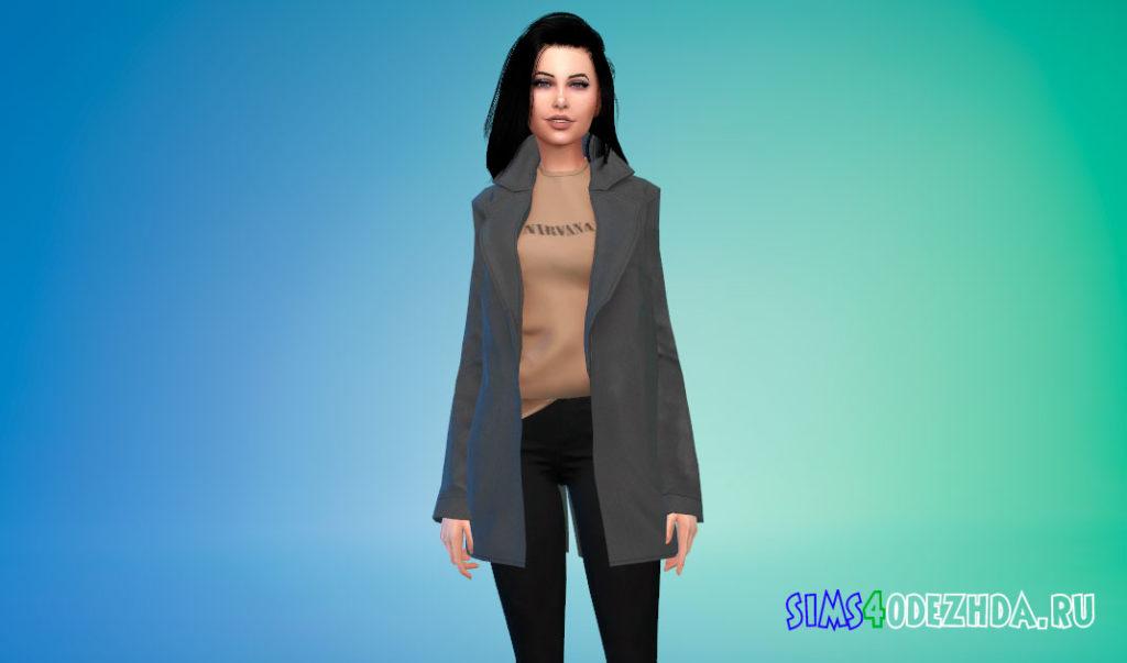 Шерстяное пальто с заправленной кофтой для Симс 4 – фото 2