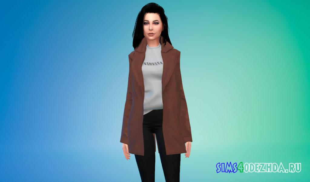Шерстяное пальто с заправленной кофтой для Симс 4 – фото 3