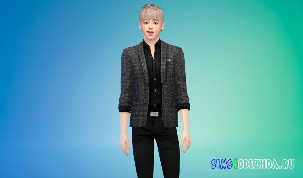 Современный и элегантный пиджак с рубашкой для Симс 4 – фото 1