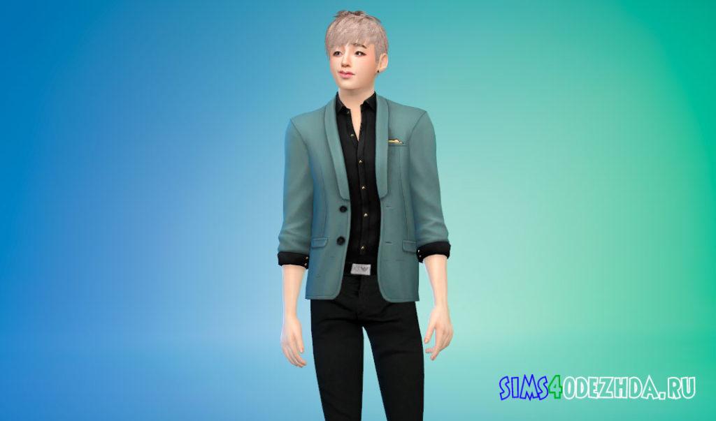 Современный и элегантный пиджак с рубашкой для Симс 4 – фото 2