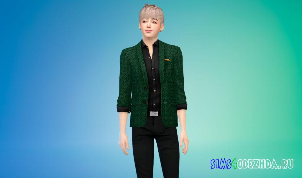 Современный и элегантный пиджак с рубашкой для Симс 4 – фото 3