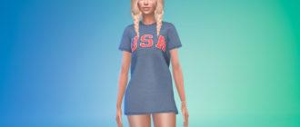Стильное платье-футболка для Симс 4 – фото 1