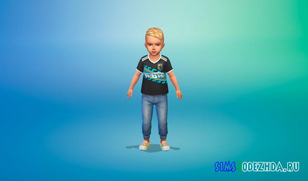 Стильные джинсы для малышей для Симс 4 – фото 2