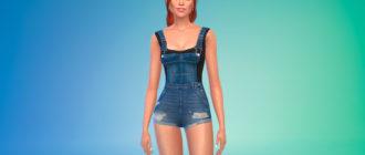 Суперкороткий джинсовый комбинезон для Симс 4 – фото 1