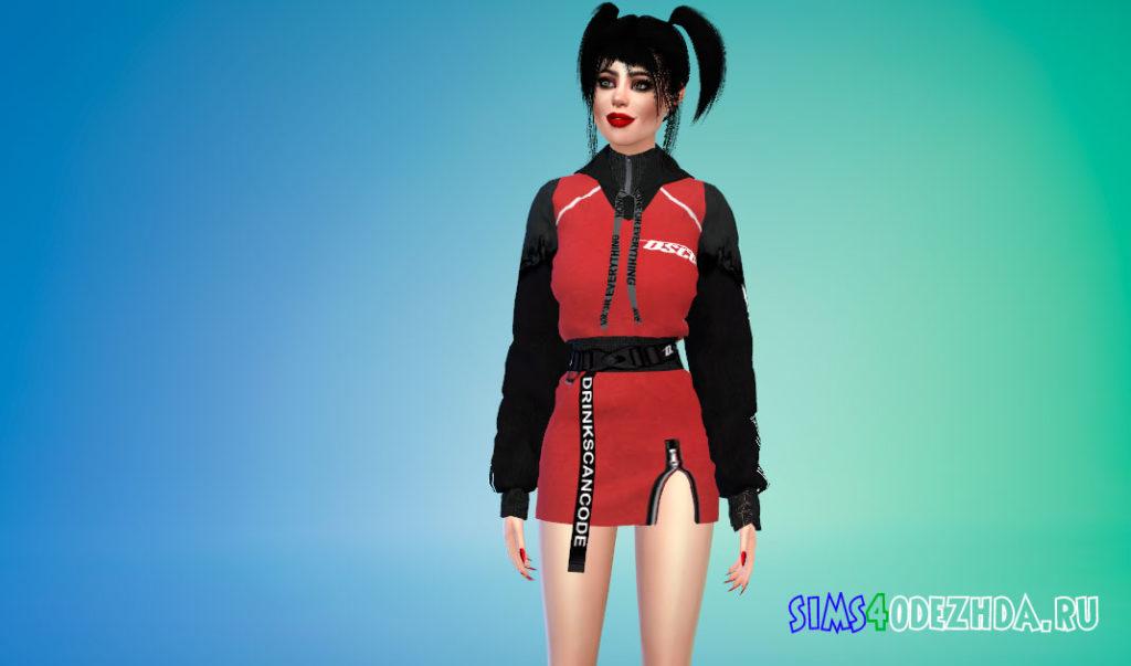 Толстовка-платье в стиле K-Trend для Симс 4 – фото 2