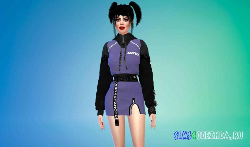 Толстовка-платье в стиле K-Trend для Симс 4 – фото 3