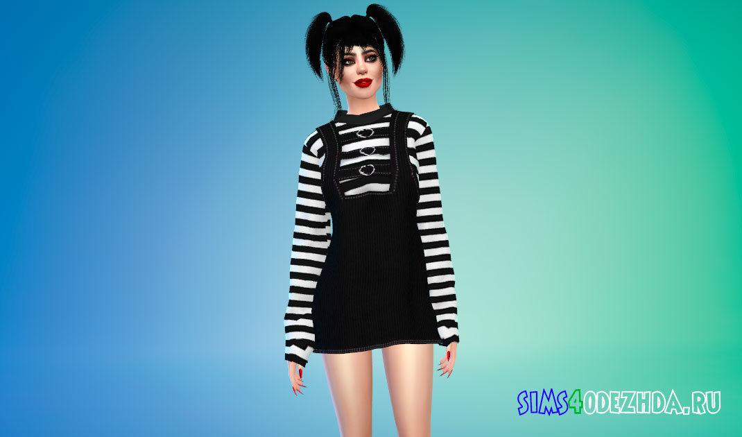 Вельветовое платье для Симс 4 – фото 1