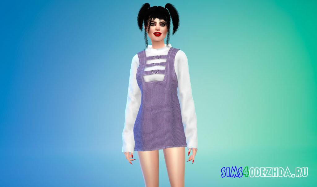 Вельветовое платье для Симс 4 – фото 2
