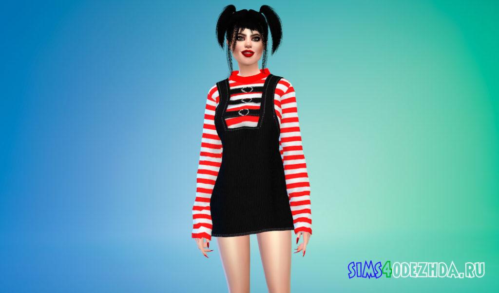 Вельветовое платье для Симс 4 – фото 3