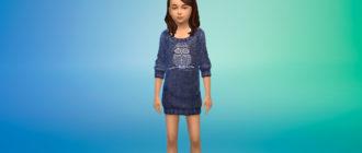 Вязаное платье-свитер для девочек для Симс 4 – фото 1