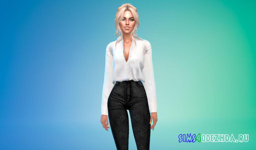 Женская заправленная рубашка для Симс 4 – фото 1