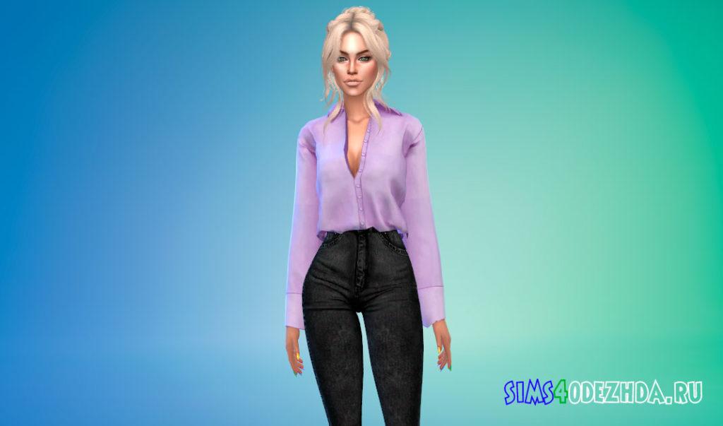 Женская заправленная рубашка для Симс 4 – фото 3