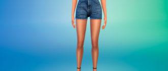Женские джинсовые шорты с высокой талией для Симс 4 – фото 1