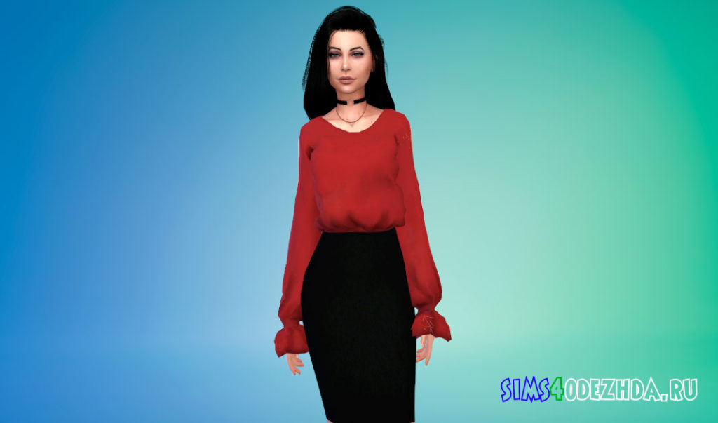Блузка и свитер с открытыми плечами для Симс 4 – фото 1