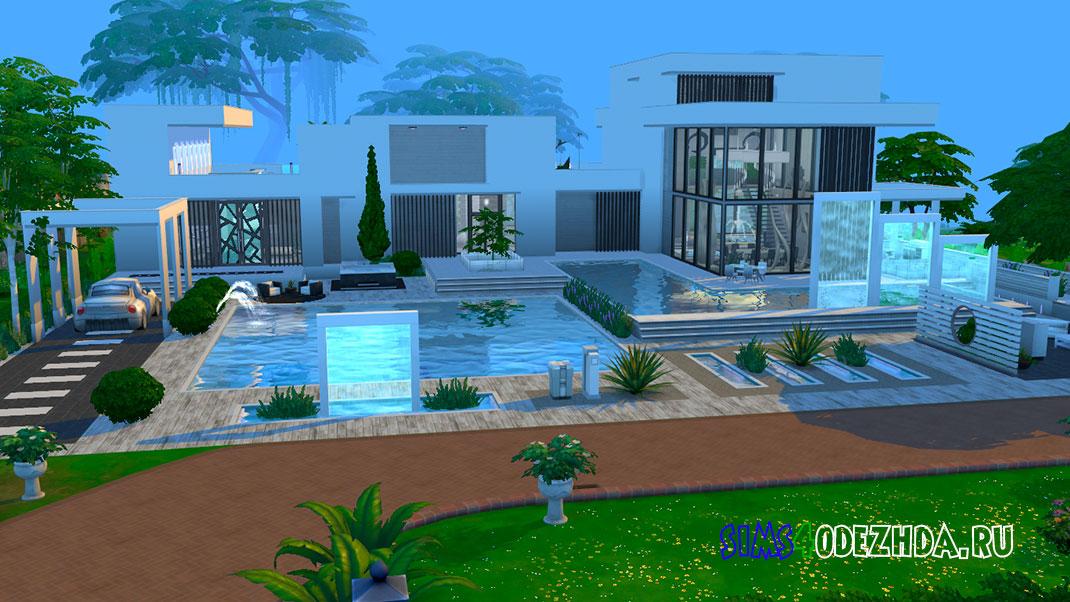 Большой дом в стиле модерн для Симс 4 – фото
