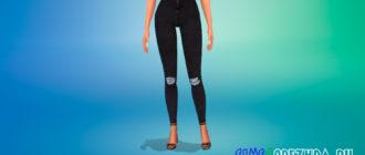 Черные джинсы скинни для Симс 4 – фото 1