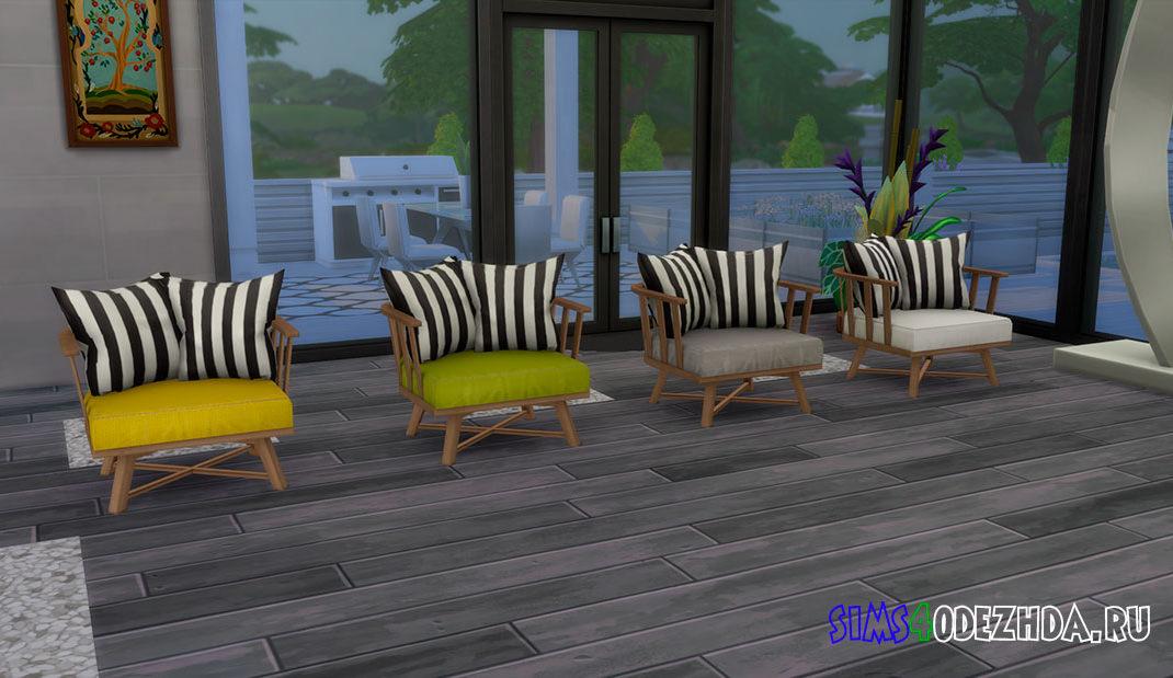 Деревянное кресло для гостиной для Симс 4 – фото