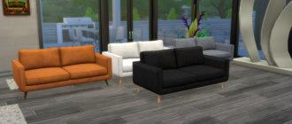 Двухместный диван на деревянных ножках для Симс 4 – фото