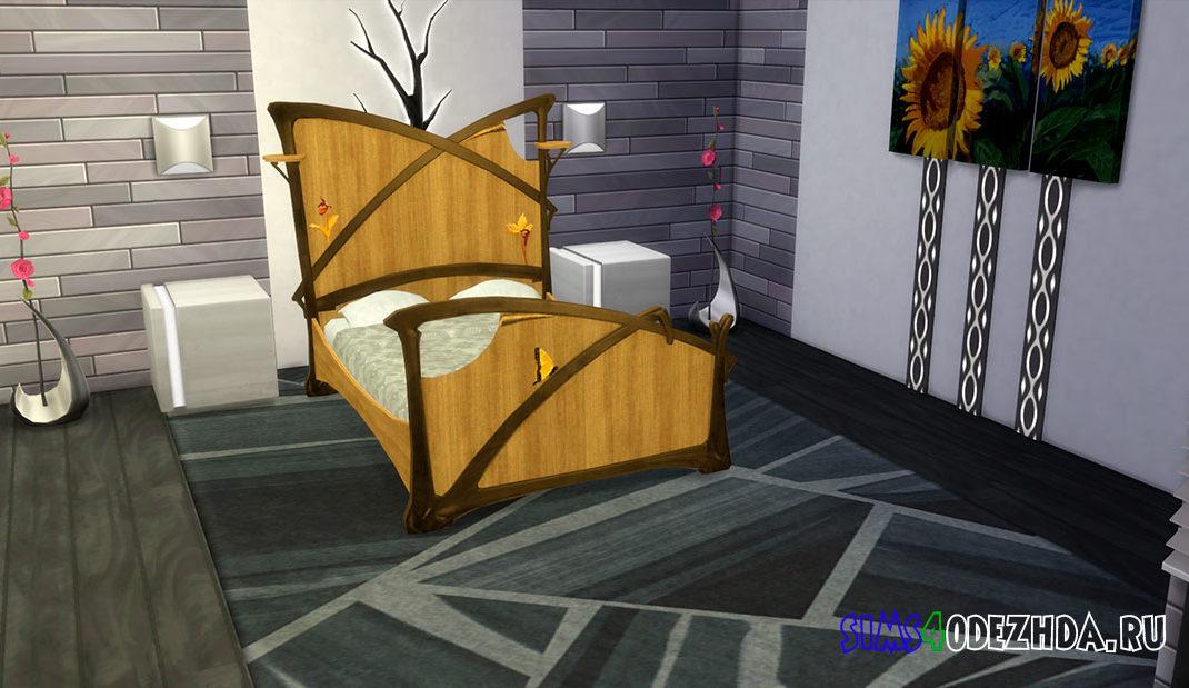 Двуспальная кровать в стиле модерн для Симс 4 – фото 1