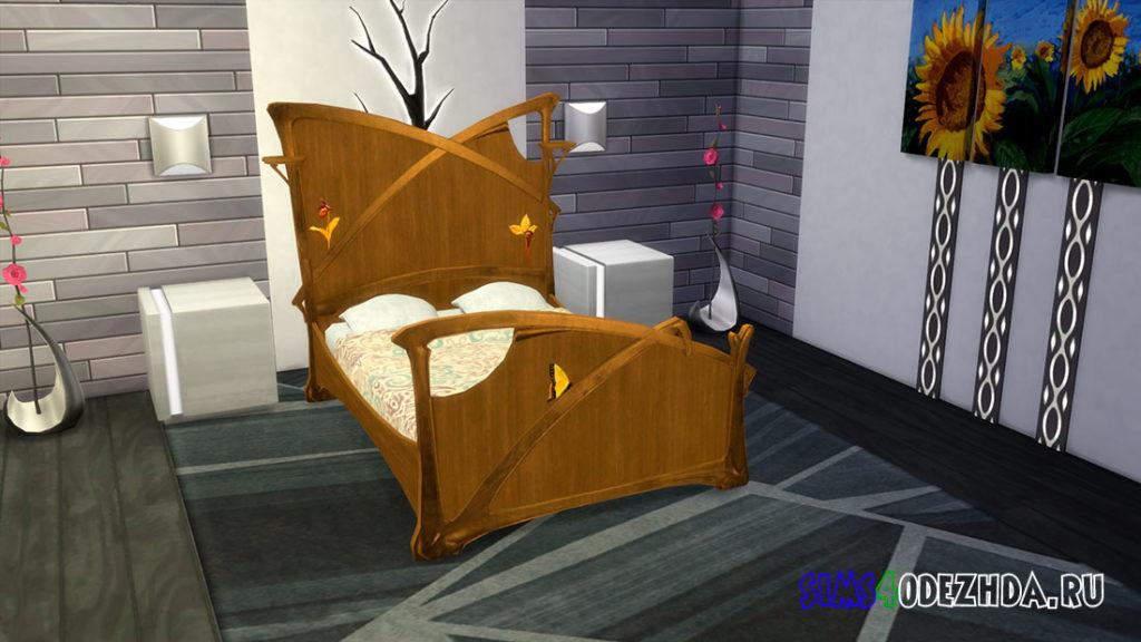 Двуспальная кровать в стиле модерн для Симс 4 – фото 2